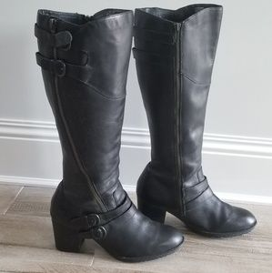 Black leather BORN knee high, wide calf, boots